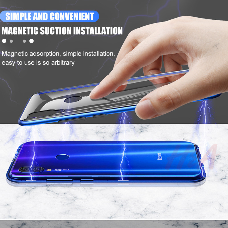 Image 4 - Metal Magnetic Adsorption Case For Redmi Note 7 6 5 Pro 6 6a Glass Case For Xiaomi 9 8 Lite 6X A2 Case Pocophone F1 Cover Case-in Phone Bumpers from Cellphones & Telecommunications