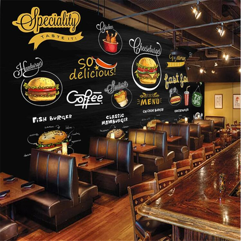Custom Mural Wallpaper 3d Hand-painted Blackboard Western Restaurant Pizza Hamburger Fast Food Shop Background Wall Paper 3D