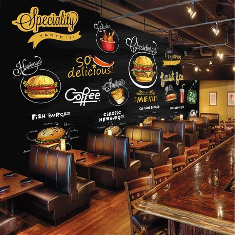 Custom Mural Wallpaper 3d Hand-painted Blackboard Western Restaurant Pizza Hamburger Fast Food Shop Background Wall Paper 3D