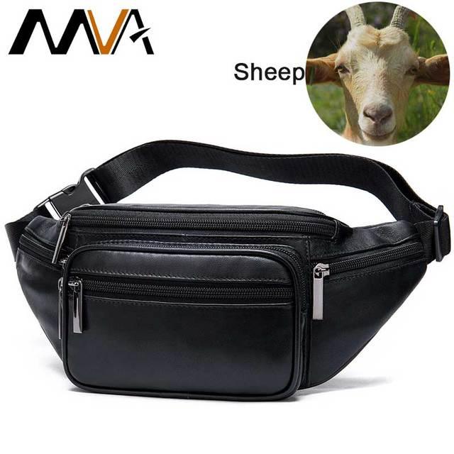 MVA Mens Waist Bag Belt Waist Packs Sheep genuine Leather Waist Bag For men/women Fanny Pack Belt Bum/Hip mens belt bags  8879