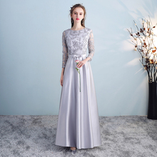 Bridesmaid Dresses Silver Gray Pattern A Line Vestido De Fes