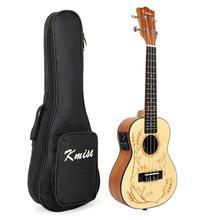 Kmise Solid Spruce Ukulele Concert Electric Acoustic Ukelele Uke 23 inch with Gig Bag