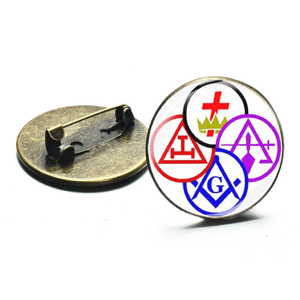 SIAN Novo Padrão Maçom Maçônica Cavaleiros Templários e Mason Sign Broches Emblemas de Lapela Pino de Vidro Artesanato Lembrança Do Metal Do Vintage