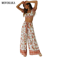 2020Boho Women Sets Sexy Women's Tracksuit Spring Summer Tracksuit Women 2 Piece Set Wide Leg Pants And Top Fashion Women Outfit