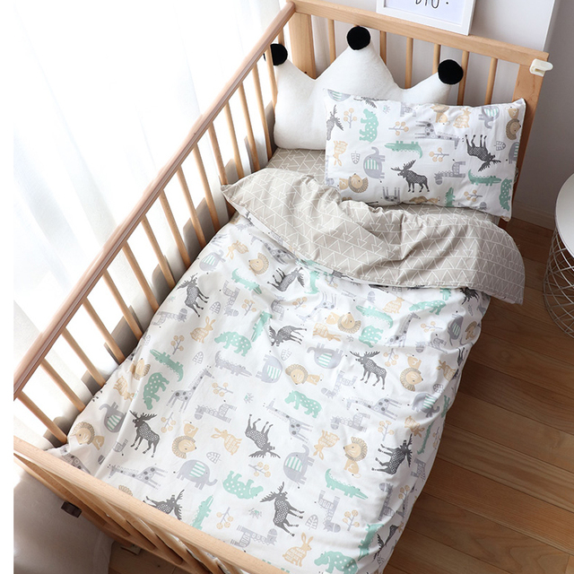 3Pcs Baby Bedding Set For Boy Girl Nordic Cotton Kids Bed Linen Cot Kit Crib Bedding For Newborns No Filler Allow Custom Size   Happy Baby Mama