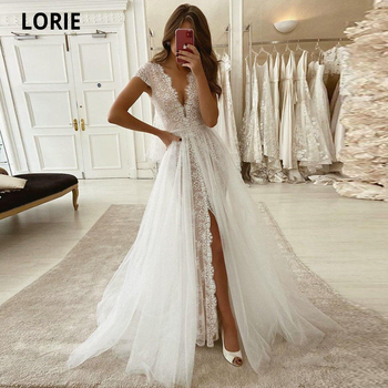 LORIE Lace Mermaid Wedding Dresses with Train Deep Cap Sleeve V neck Boho Bridal Gowns Plus Size Vintage Wedding Gowns High Slit v neck slit sleeve high low blouse