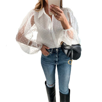 Free shipping Women clothes See-through Sheer Mesh Dot Blouse turn-down collar Long Puff Sleeve Poly