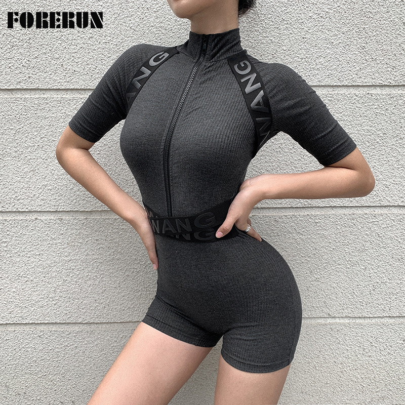 FORERUN Ribbed High Waist Biker Shorts Summer Women Bodysuits Short Sleeve Zipper Turtleneck Skinny Playsuits