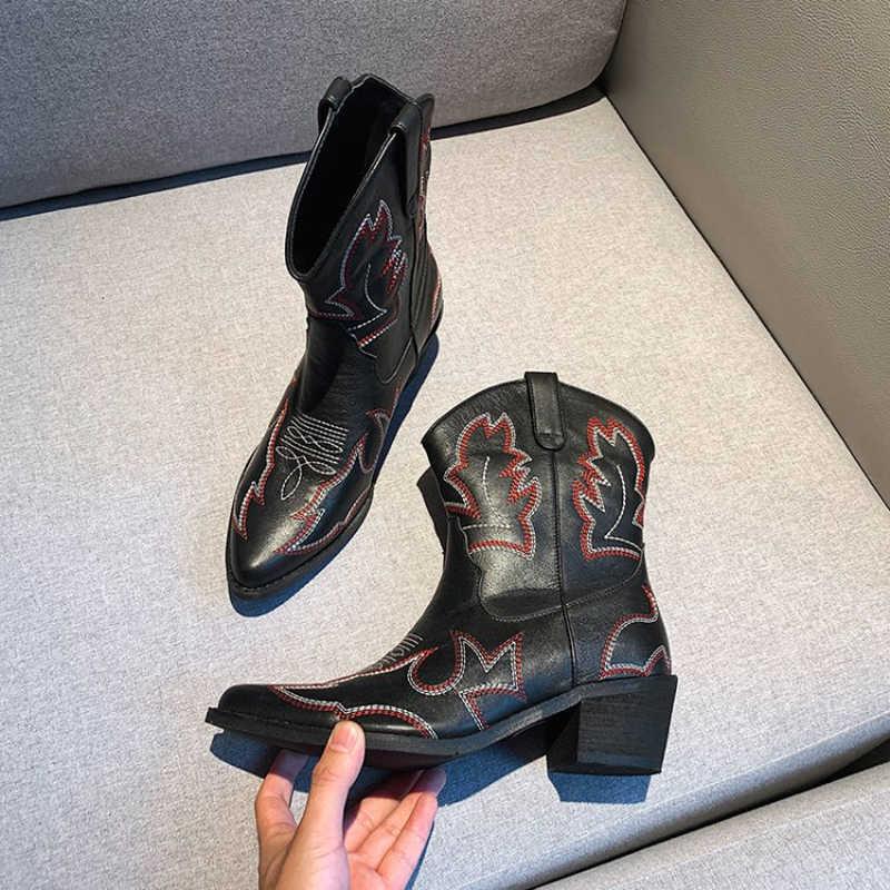 2019 Hakiki Deri Batı Cowgirl Çizmeler Sivri Burun Kış Sıcak Kovboy Çizmeler Ayakkabı Kadın yarım çizmeler Botas Mujer