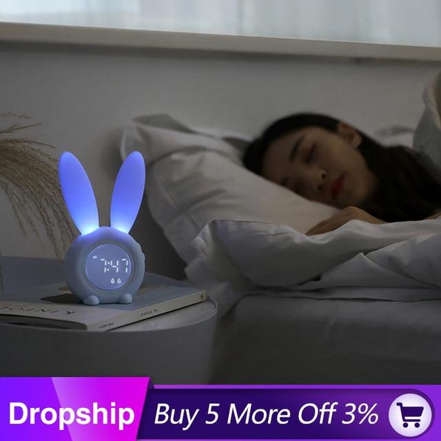 นาฬิกาปลุก Creative น่ารักกระต่ายนาฬิกาปลุก LED Digital Snooze การ์ตูนนาฬิกาอิเล็กทรอนิกส์สำหรับห้องรับแขก Home Supplies
