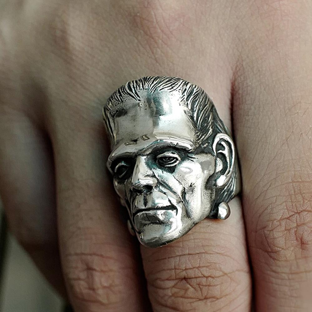 Eyhimd ficção científica victor frankenstein anéis punk cientista horror aço inoxidável crânio anel biker masculino jóias