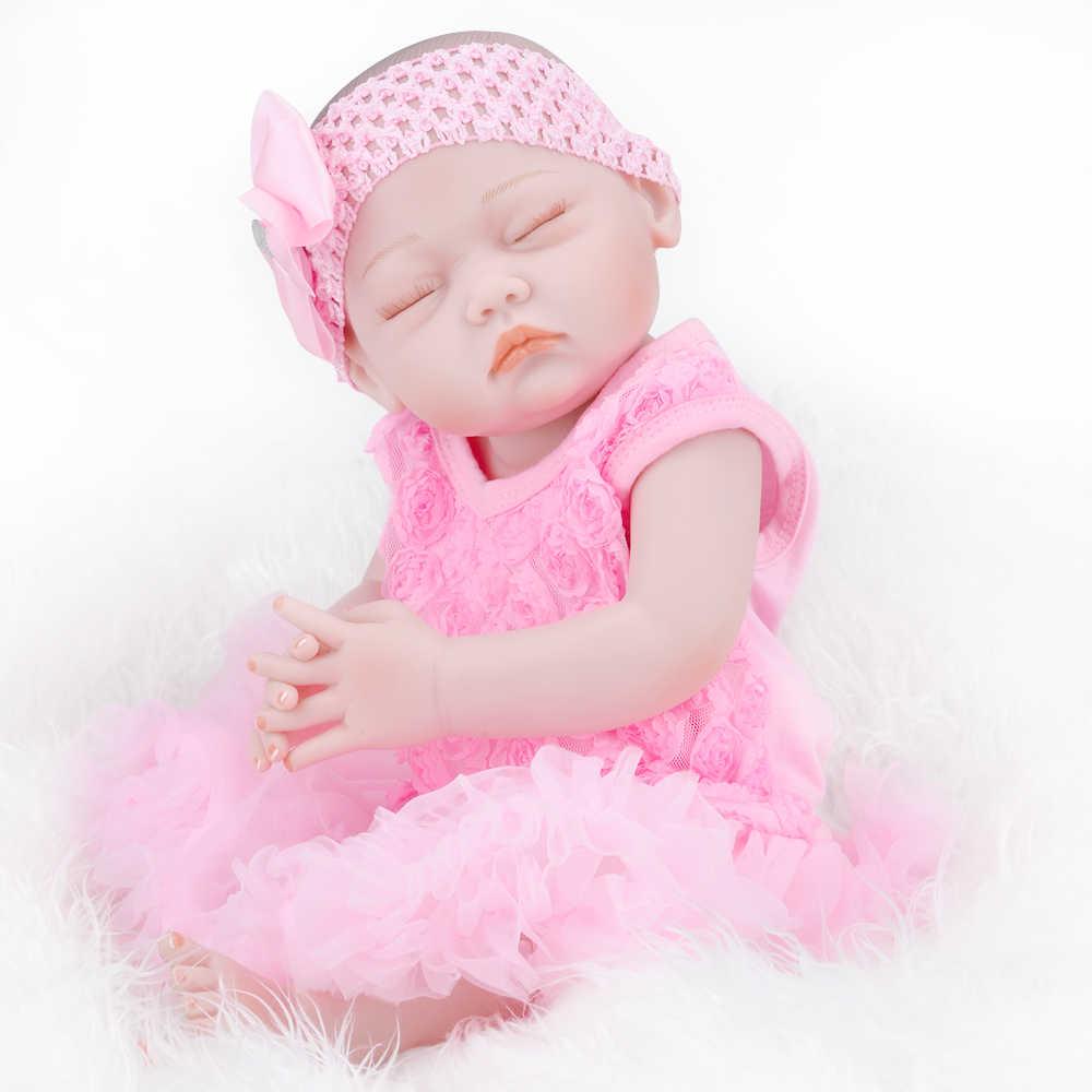 """UCanaan 20 """"дюймовая Реалистичная кукла-Новорожденный куклы, Возрожденный Полный тела, силиконовые игрушки для малышей ручной работы"""