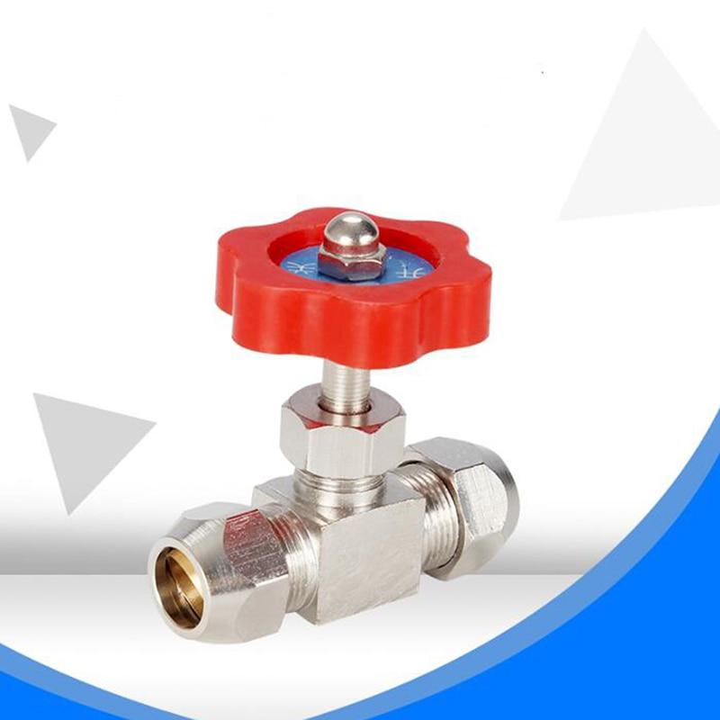 6mm 8mm Hole Dia Orange Plastic Handle Metal Copper High Pressure Durable Tube Needle Type Globe Valve