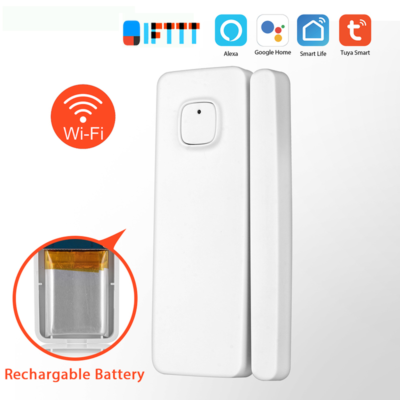 Wifi Door Window Sensor Smart Home Automation Tuya/Smart Life Notification Alerts Rechargable Battery Work Alexa Google IFTTT