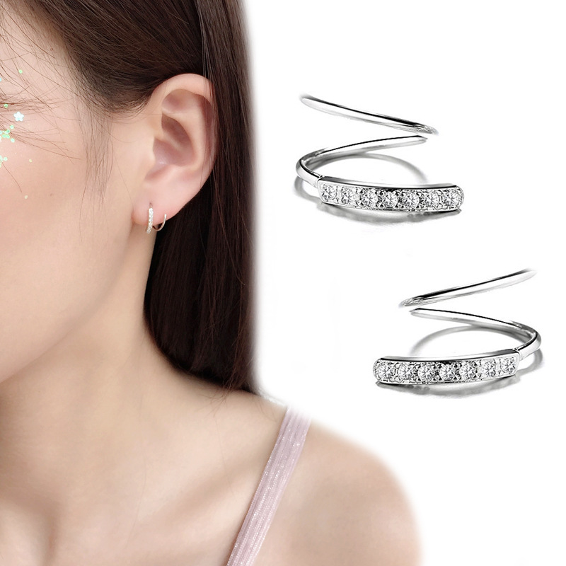 925 Sterling Silver Crystal Spiral Stud Earring for Women Girl Wedding Gifts Jewelry pendientes plata de ley 925 mujer eh1284