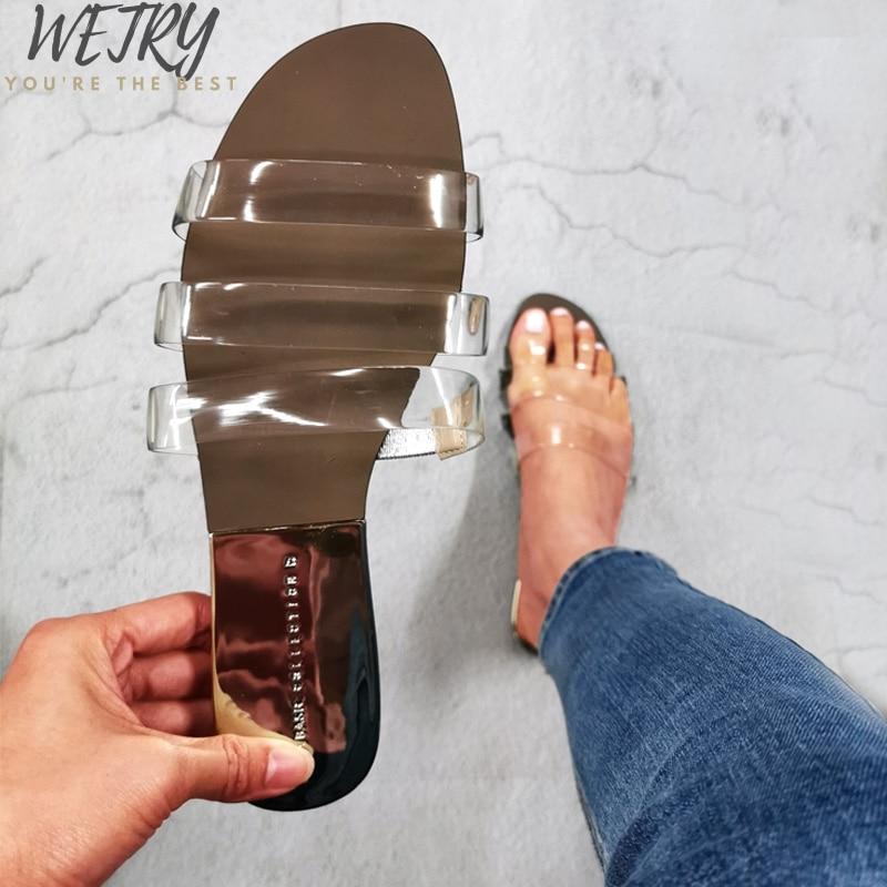 IN 2020 Belts Flat Heel Shoes Slippers Outside Wearing Women Shoes Summer Soft Leather Woman Slides Transparent Open Toe Slipper