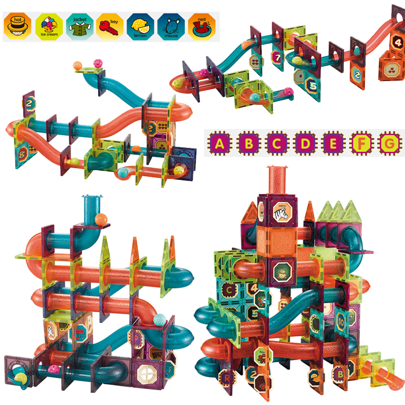 Baby toy Duplo tile magnetic building blocks children educational track model baby gift with stickers Toys for children