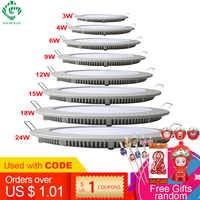 LED Panel Lights Ceiling Round Recessed Lamp Aluminum Ultra Thin Downlights 3W 4W 6W 9W 12W 15W 18W 24W Spotlight Light Fixtures