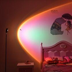 Nordic led lâmpada de assoalho projeção arco-íris atmosfera luz quarto fundo decoração da parede lâmpada pôr do sol vermelho colorido