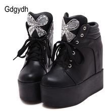 Gdgydh 2019 New Women Ankle Boots Rhinstone Bow-knot Plus Thick Platform Wedges Female Short Boots Casual Black White Lady Shoes