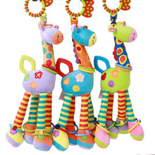 Infant Baby Soft Plush Rainbow Giraffe Animal Handbells Ratt