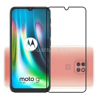Protectores de pantalla de cubierta completa para Motorola Moto G9 Play película de vidrio templado protectora a prueba de arañazos para Motorola Moto G9