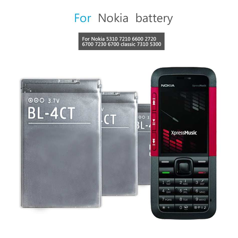 Mobile Phone Battery For <font><b>Nokia</b></font> 5310 6700S X3 X3-00 7230 7310C 5630 <font><b>2720A</b></font> 7210C 6600F Replacement Battery BL 4CT BL-4CT 860mAh image
