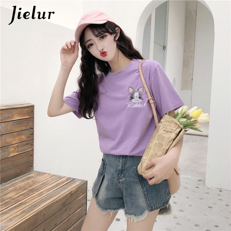 Jielur Harajuku Embroidery Rabbit T Shirt Women Summer New S 2XL Top Tees Kpop Hipster Kawaii Tshirt Female Dropship T shirt in T Shirts from Women 39 s Clothing
