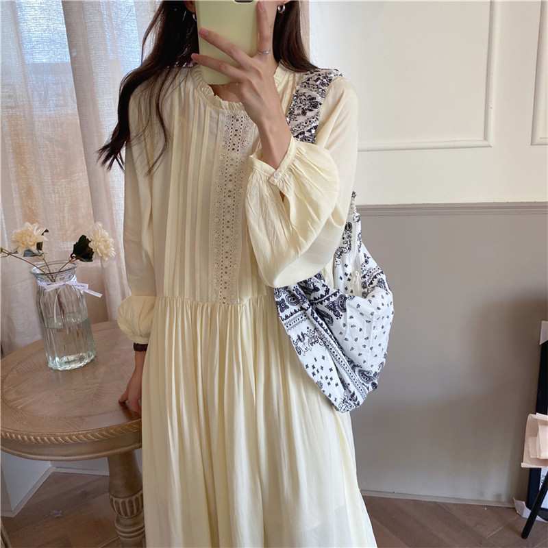 H1d42aa6407e04964aff69daf420e0f3d7 - Autumn O-Neck Lantern Sleeves Loose Lace Solid Dress