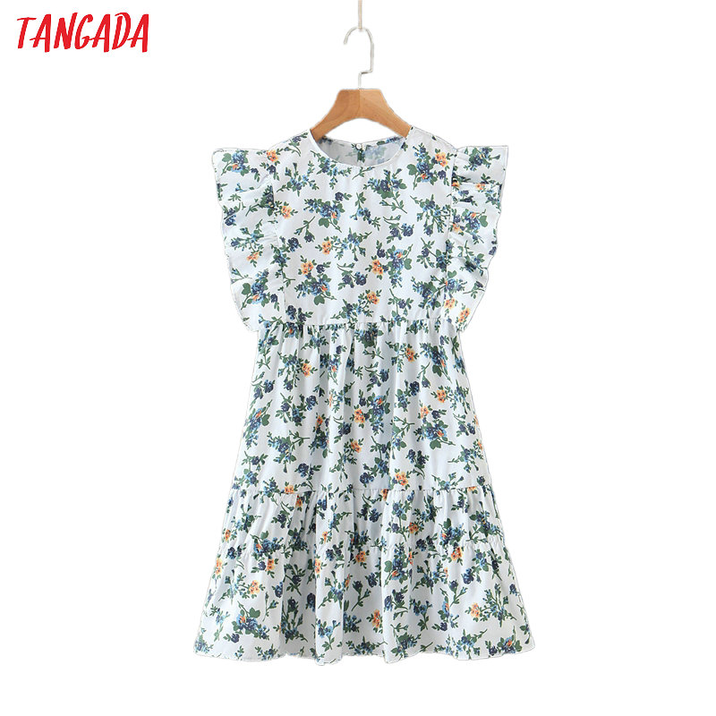 Tangada Fashion Women Green Floral Print Mini Dress Ruffles 0 Neck Short Sleeve Ladies Vintage Chiffon Dress Vestidos SL227
