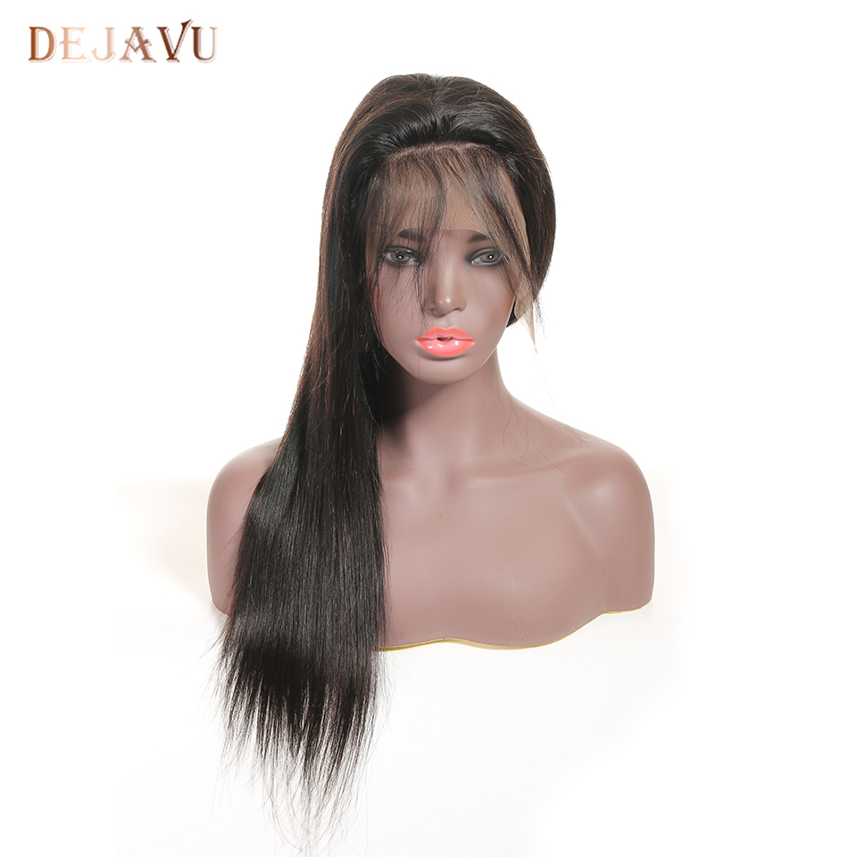 DEJAVU 13*4 Lace Wig Malaysia Wigs Straight Pre Plucked With  Baby Hair 8- 28 Inch Non Remy  Human Hair Lace Frontal Wigs