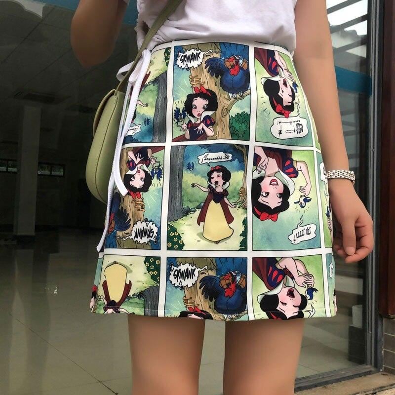 Snow White Retro Skirt Comic Print High Waist Wild A Line Skirt Fashion Women Bodycon Mini Skirts 6