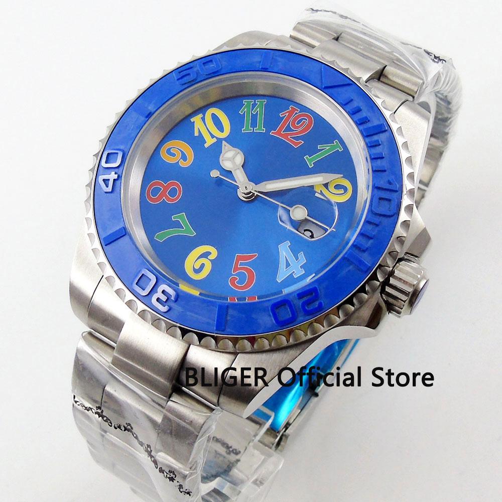 BLIGER Sterile Dial Blue 40mm Men's Watch Automatic Movement Sapphire Glass Auto Date  Mental Strap