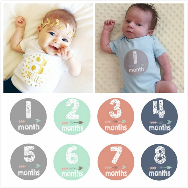 12Pcs/set Baby Pregnant Women Month Stickers Baby Pregnant Monthly Photography 1-12 Milestone Stickers Fun Photograph Stickers
