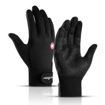 Jesienne zimowe męskie damskie rękawiczki rowerowe z pełnymi palcami do ekranów dotykowych outdoorowe rękawiczki sportowe rowerowe rękawice rowerowe z odblaskowym Logo tanie i dobre opinie Poliester Z pełnym palcem Uniwersalny A0016 Zmywalna Bike Gloves Men Women Adult Thermal fleece autumn and winter touch screen gloves