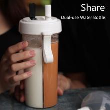420/600ml Portable Water Bottles Dual Straw Separate Plastic