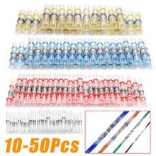 10-50 Uds impermeable sello de soldadura manga empalme de terminales termorretráctil de alambre eléctrico conector trasero Kit de conectores
