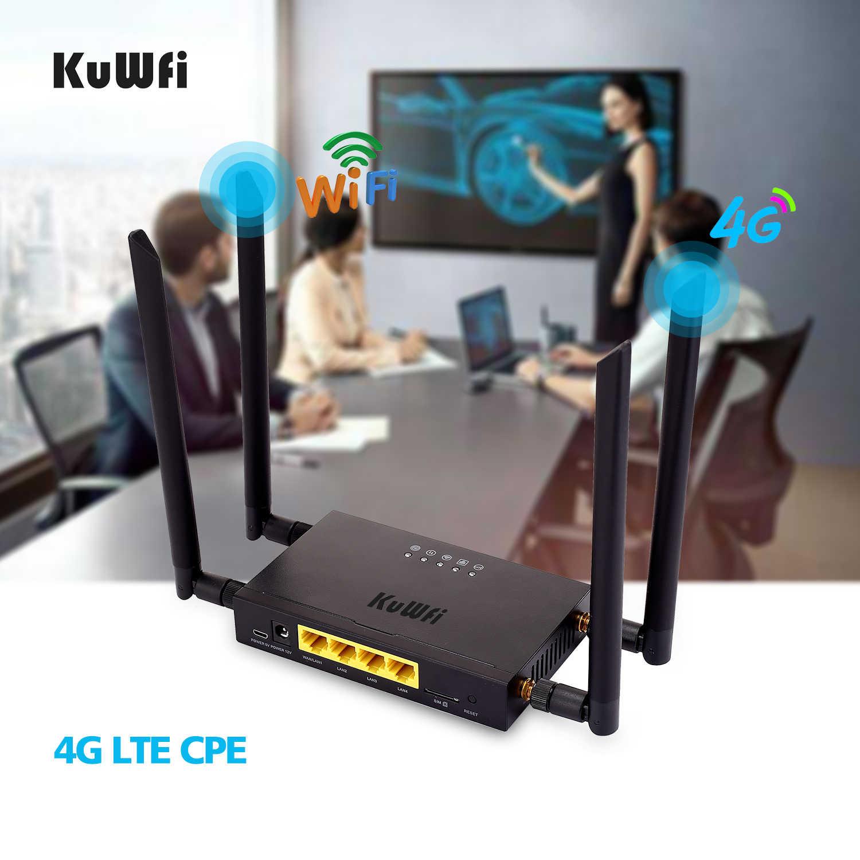 Kuwfi CAT4 4G LTE CPE Xe Wifi 300Mbps Công Nghiệp Không Dây Tốc Độ Cao CPE Router Kèm Sim khe Cắm/4 Ăng Ten Gắn Ngoài