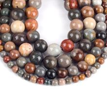 Natural Picasso Jaspers Round Loose Beads For Jewelry Making 4-12mm Spacer Beads Fit Diy Bracelet Necklace Accessory 15'' Strand цена