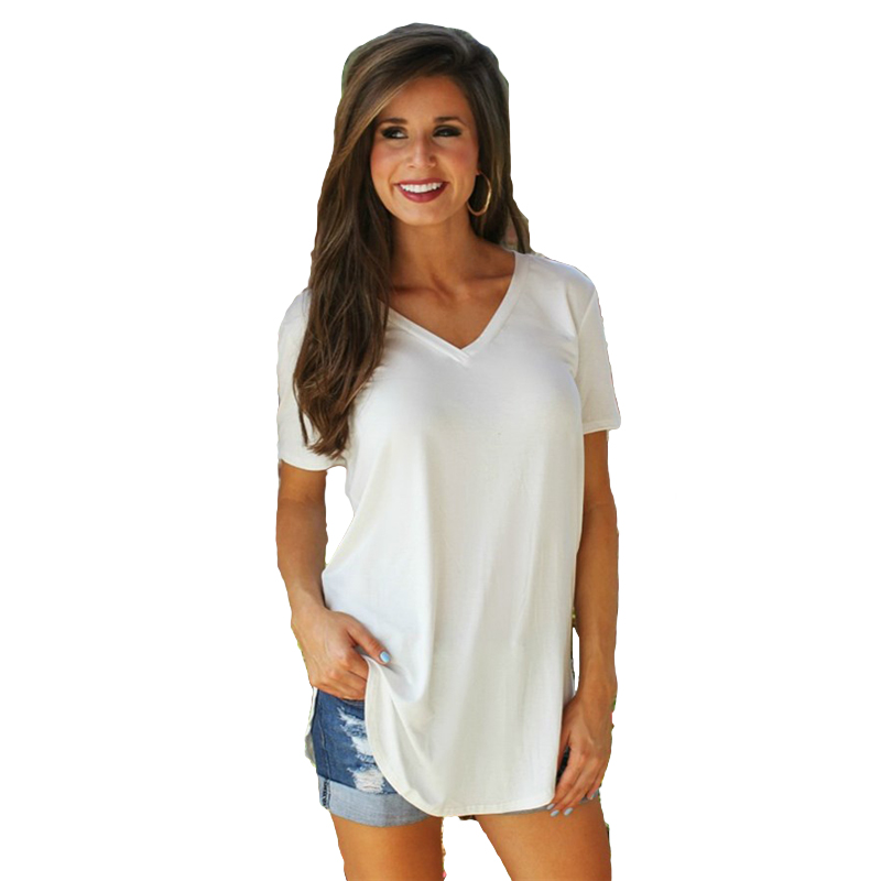 Frauen T-shirt Sommer Plus Größe T Basic T Shirt Frauen Solide V-ausschnitt Kurzarm Lange Beiläufige Frauen Tops lose T Shirt Femme