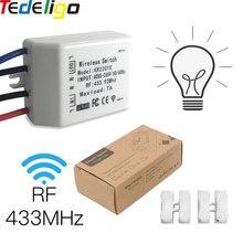 Tedeligo 433MHz interruttore luce RF AC 85-265V 7A 1CH con telecomando Wireless a 4 fili per lampada da soffitto Smart Home luce di cristallo