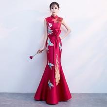Ladies sleeveless Evening Dress Summer Vintage Phoenix Embroidery Qipao Elegant Chinese Bride Wedding Fishtail Cheongsam S-2XL