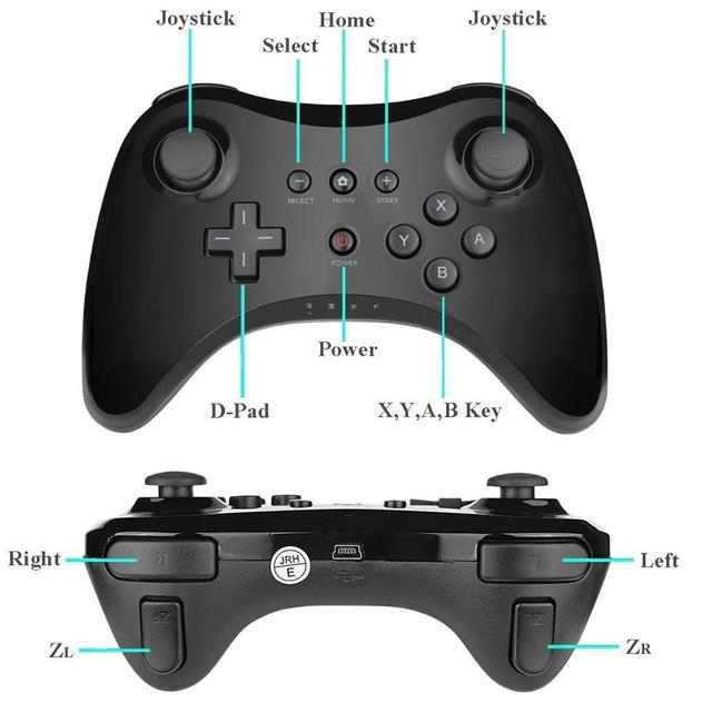 Wireless Classic Pro Controller Joystick Gamepad for Nintend wii U Pro with USB Cable Wireless Controller