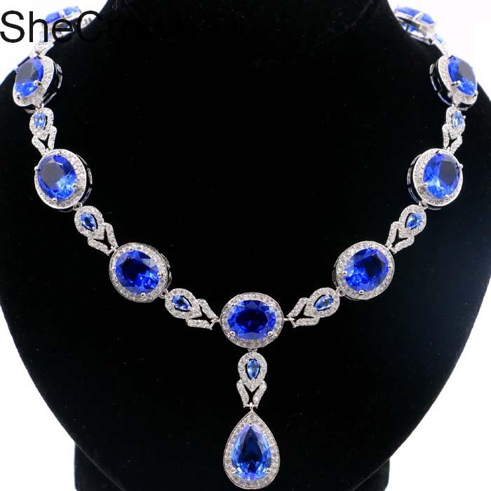 Charming Deep Blue Sapphire White CZ Woman s Gift Silver Necklace 19 0 19 5in 48x16mm