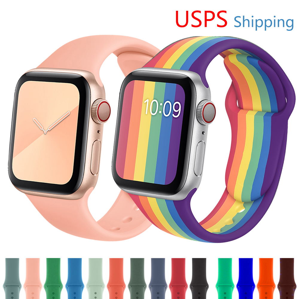 Strap For Apple Watch Band 44 MM 40MM Iwatch Band 38mm 40mm Silicone Watchband Bracelet Apple Watch Series 5 4 3 38 42 40 44 Mm