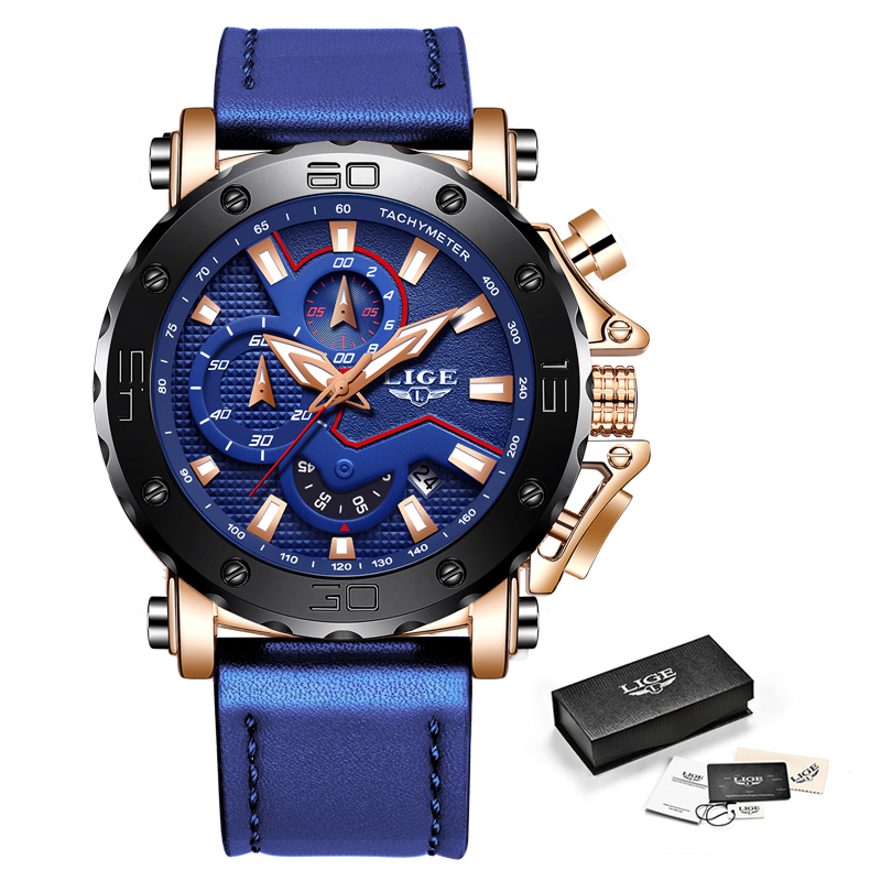 LIGE Men Watches Male Business Date Chronograph Waterproof Quartz Watch Men 39 s Sport Blue Leather Big Dial Military Watch Relogio in Quartz Watches from Watches
