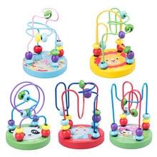 DROPSHIPPING drewniane zabawki Montessori dla dzieci drewniane koła paciorek drut Maze Roller Coaster edukacyjne puzzle drewniane zabawki dla niemowląt
