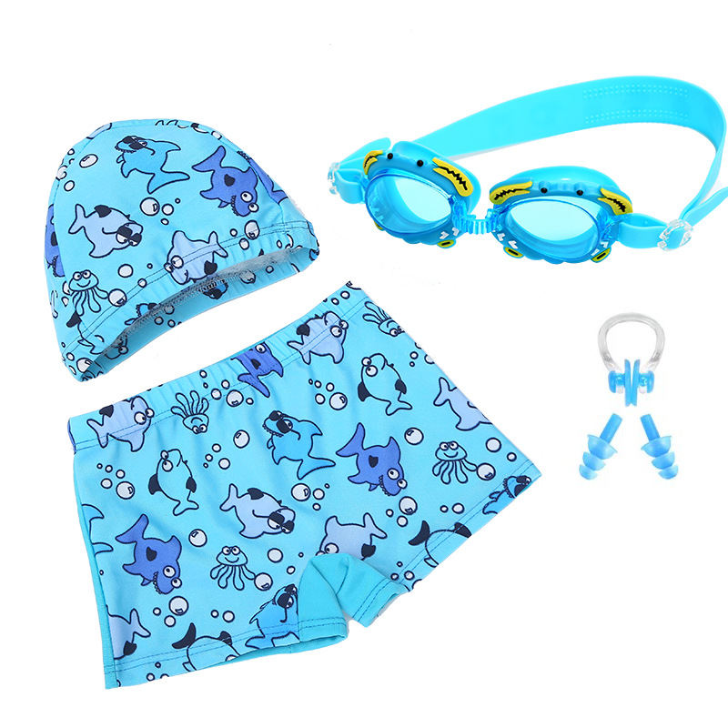 Cute Cartoon Printed CHILDREN'S Swimming Trunks BOY'S AussieBum Children Swimming Cap Nose Clip And Ear Plug Four-piece Set