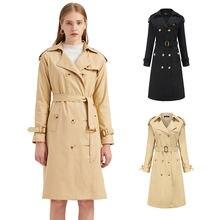 Для женщин двубортный длинное пальто для женщин; Цвет черный