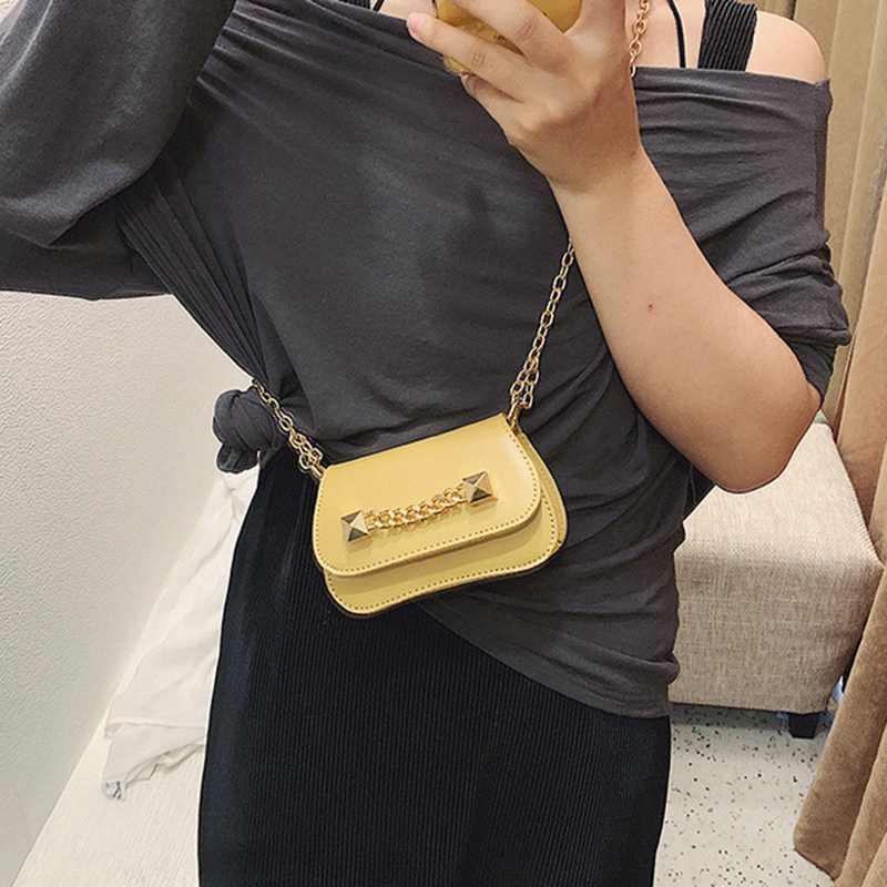 صندوق مربع صغير الوجه بو الجلود المرأة حقيبة يد سلسلة حقيبة الكتف Crossbody